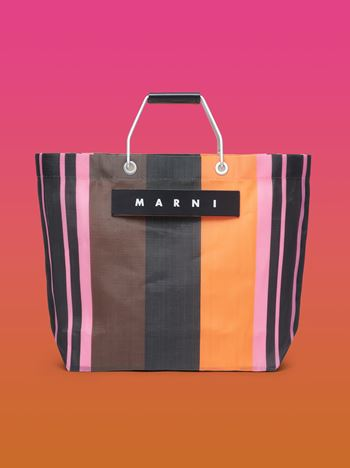 Marni MARNI MARKET black, brown and orange striped shopping bag in polyamide  Man