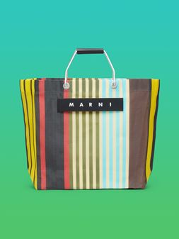 Marni MARNI MARKET yellow, red, green and blue striped shopping bag in polyamide  Man