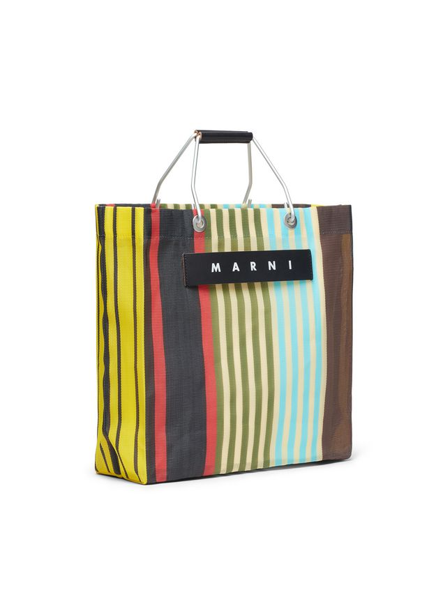 Marni MARNI MARKET yellow, red, green and blue striped shopping bag in polyamide  Man - 2