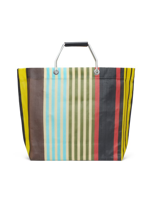 Marni MARNI MARKET yellow, red, green and blue striped shopping bag in polyamide  Man - 3