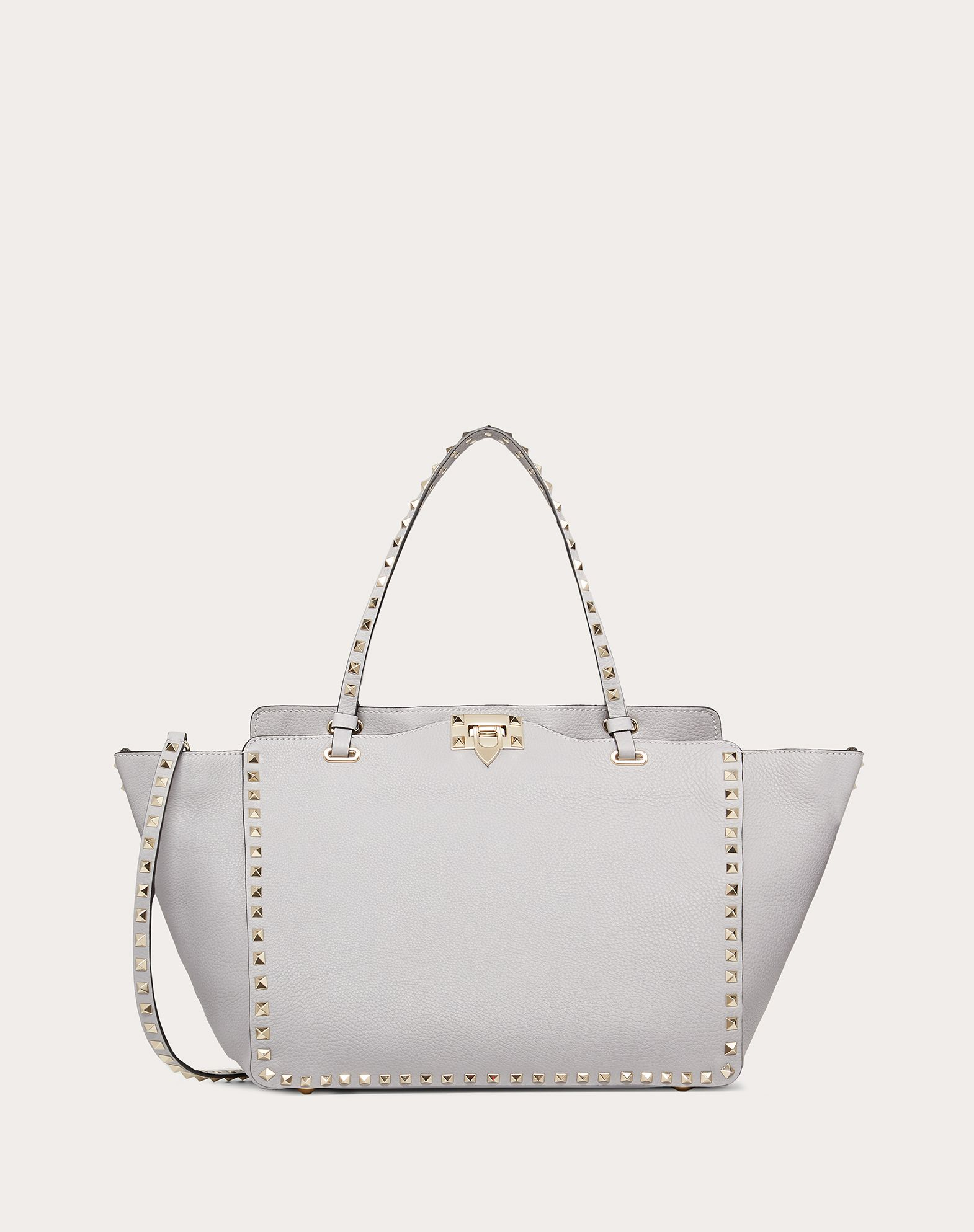 VALENTINO Studded Logo Solid colour Framed closure Removable shoulder strap Textured leather  45410213cf
