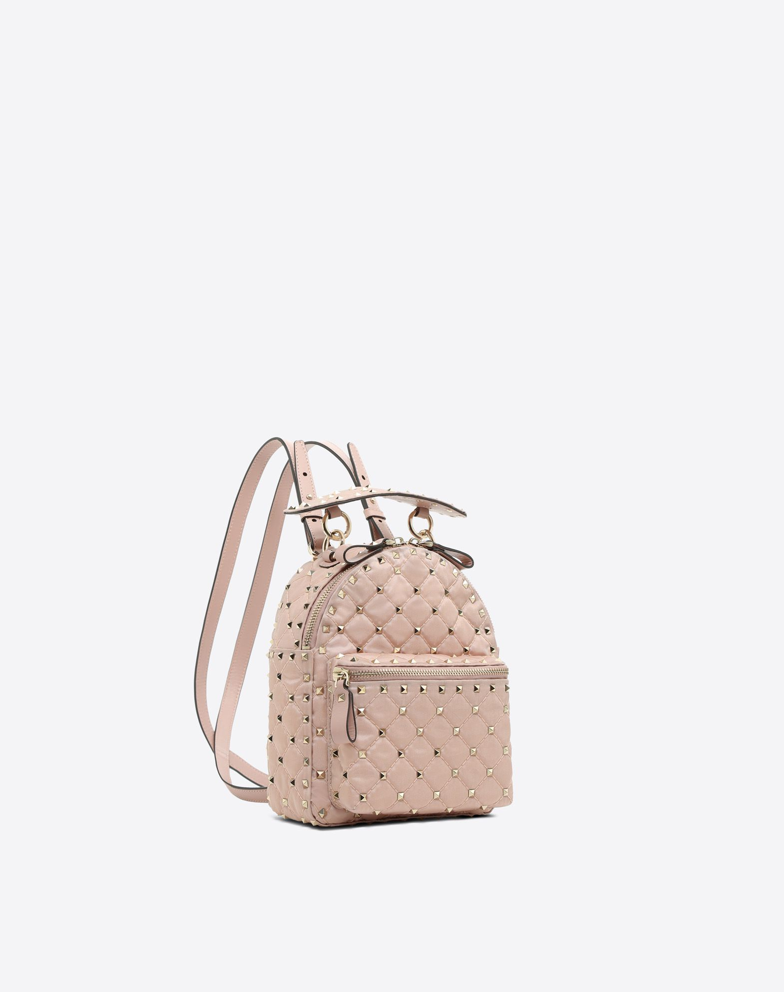 VALENTINO Techno fabric Quilted Studs Solid color Zip External pocket Fully lined  45410214ax