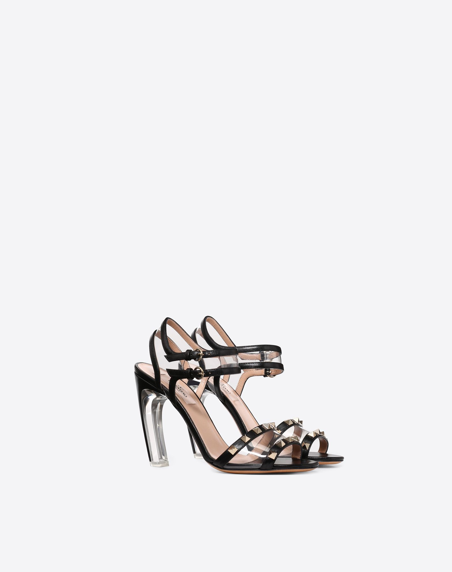 VALENTINO Studded Round toeline Leather lining Solid color Leather sole Buckle Geometric heel  45410494nr