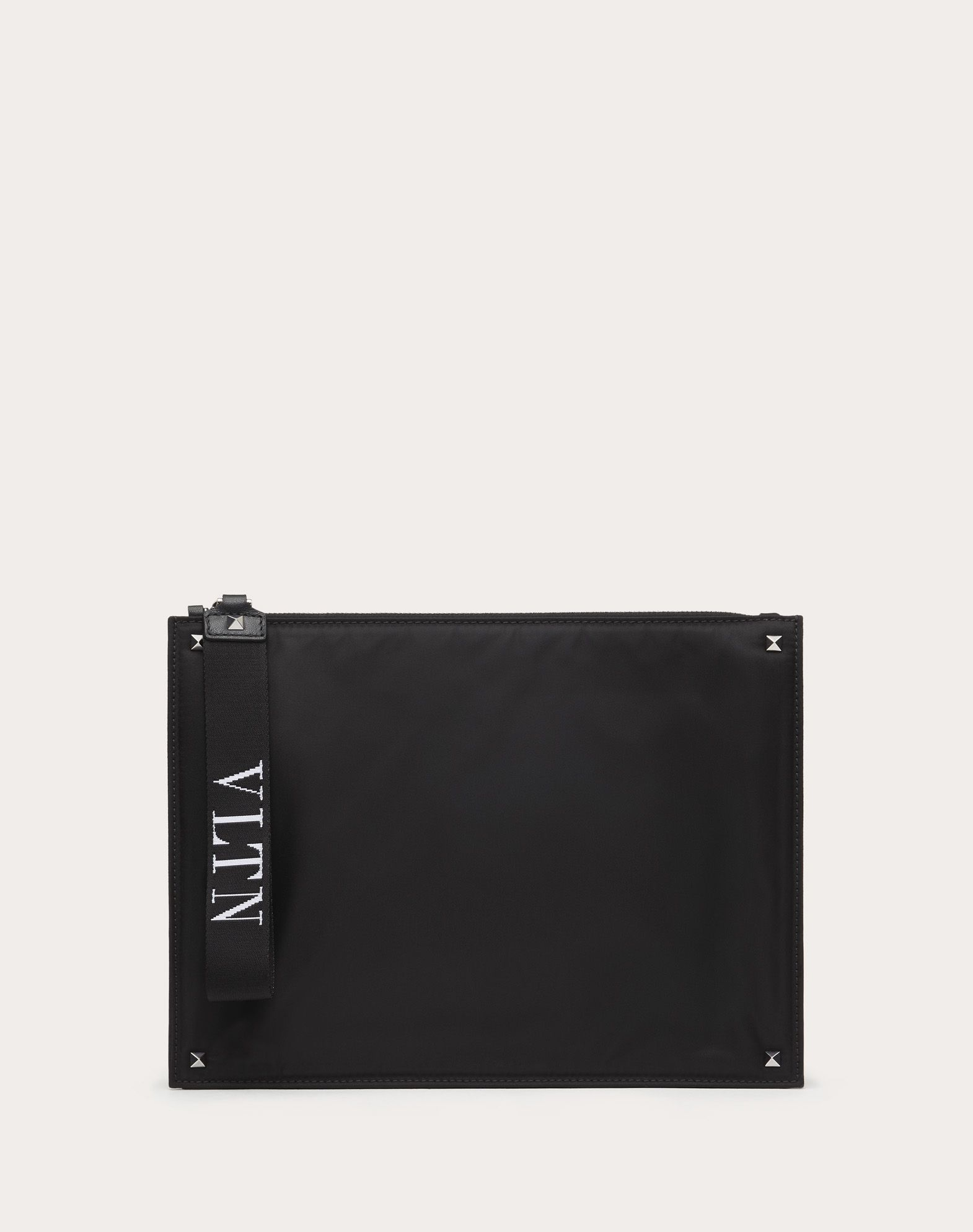 VALENTINO Logo Studs Zip Neoprene Techno fabric Solid colour Internal zip pocket  45410604oa