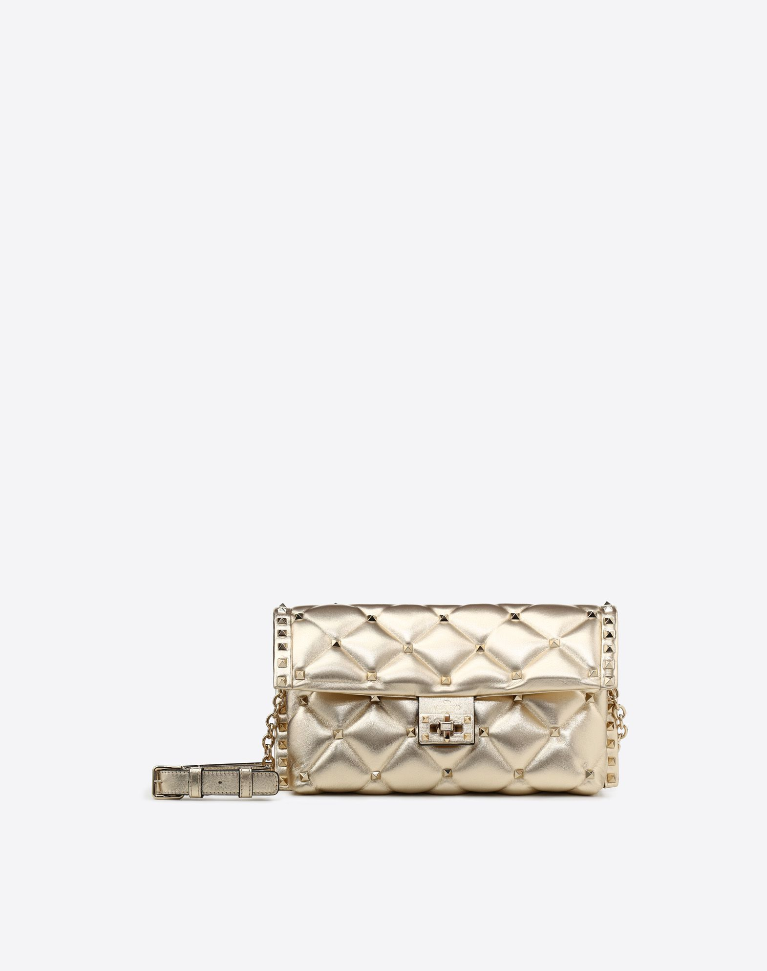 VALENTINO Solid color Laminated effect Logo External pocket Internal zip pocket Framed closure Quilted Adjustable shoulder straps  45411362ae