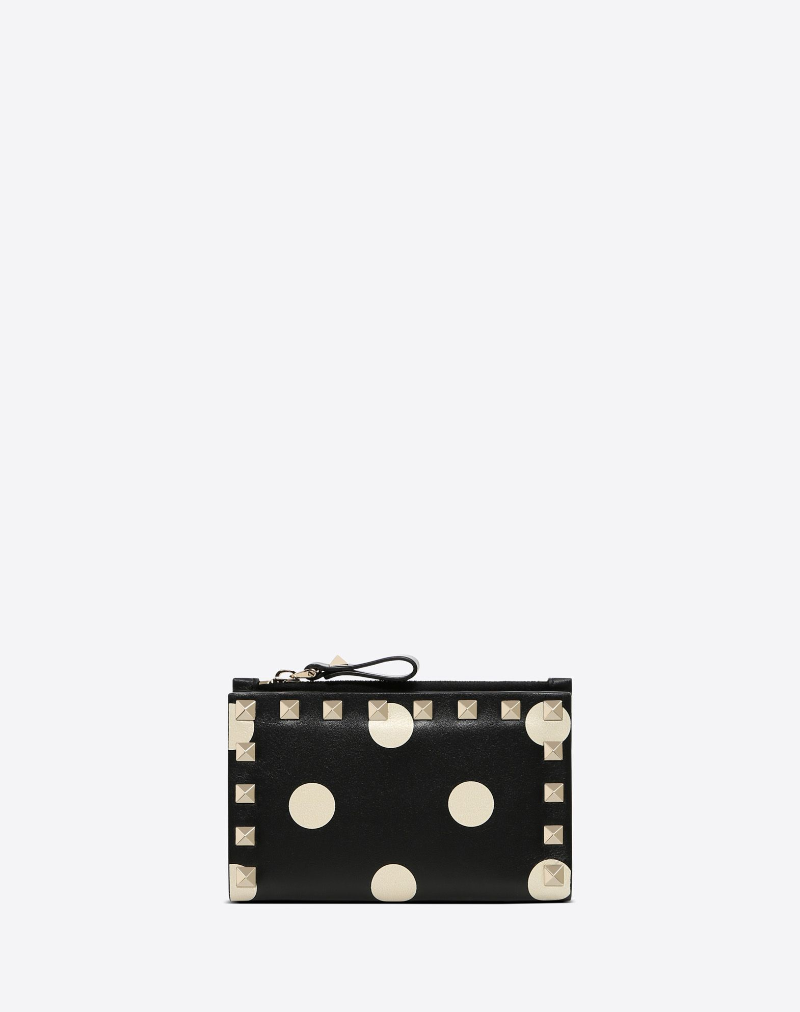 VALENTINO Snap button fastening Polka dots Logo Studs Internal card slots External side zip pocket  45411909vi
