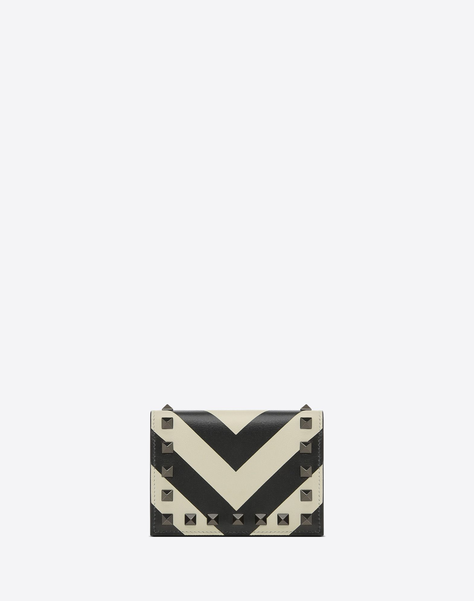 VALENTINO Two-tone Snap button fastening Internal card slots Logo Studs  45411911di