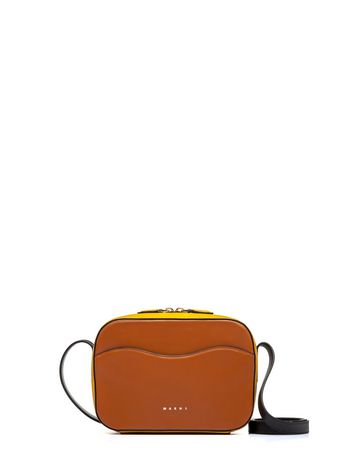 Marni Yellow and brown nappa leather SHELL bag Woman