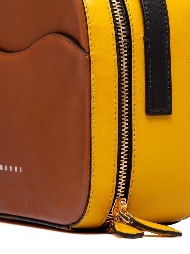 111201406bd MARNI Shoulder Bag Woman Yellow and brown nappa leather SHELL bag d