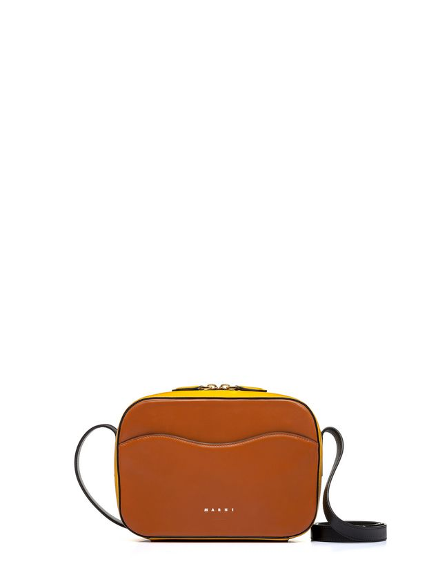 bcce685cff3 Yellow And Brown Nappa Leather SHELL Bag from the Marni Spring ...