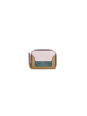 Marni Pink, green and beige saffiano leather purse with zipper Woman