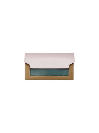 Marni Tri-coloured bellows wallet in saffiano leather  Woman
