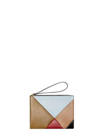 Marni Color-block calfskin clutch Woman