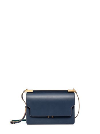 Marni Blue calfskin TRUNK bag with gold-finish metal details Woman