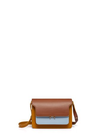 Marni TRUNK bag in leather yellow brown and pale blue Woman