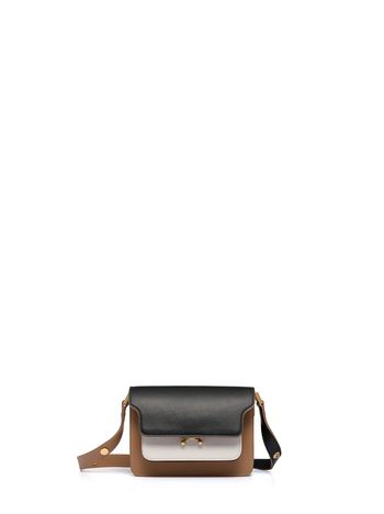 Marni Borsa MINI TRUNK in vitello nero bianco e beige Donna