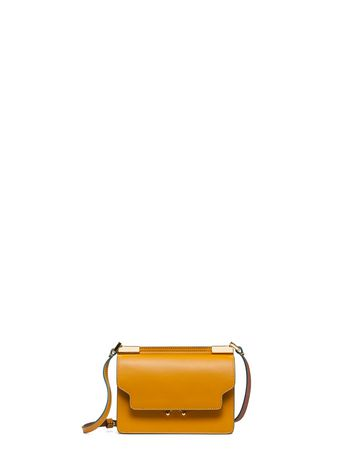 Marni MICRO TRUNK bag in leather with gold-tone metal detailing yellow Woman