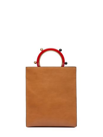 Marni PANNIER shopping bag in leather with spherical ornaments  Woman