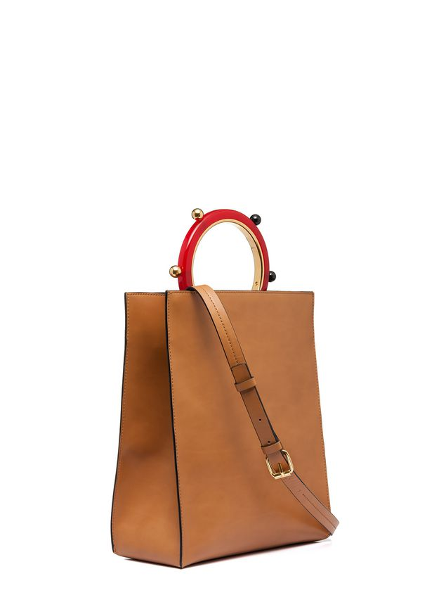 Marni PANNIER shopping bag in leather with spherical ornaments  Woman - 2