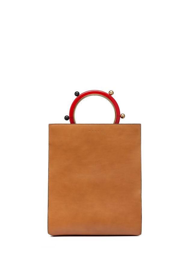 Marni PANNIER shopping bag in leather with spherical ornaments  Woman - 3