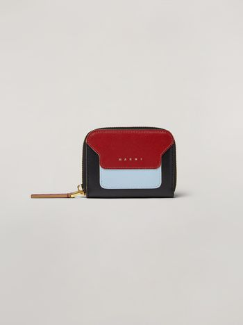 Marni Saffiano leather zip wallet black burgundy and pale blue Woman