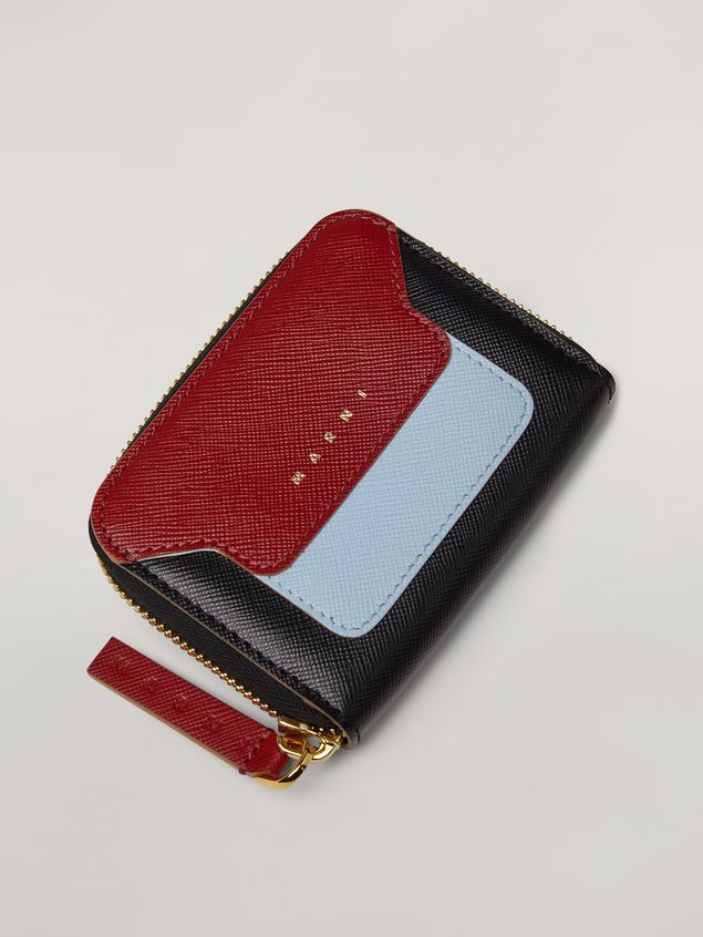 Marni Black, burgundy and blue saffiano leather purse with zipper Woman - 4