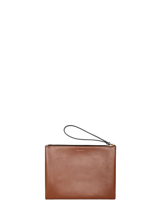 Marni Clutch in leather pale blue and brown Woman