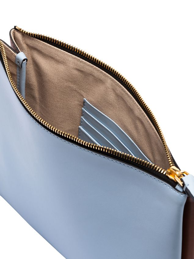 Marni Clutch in leather pale blue and brown Woman - 2