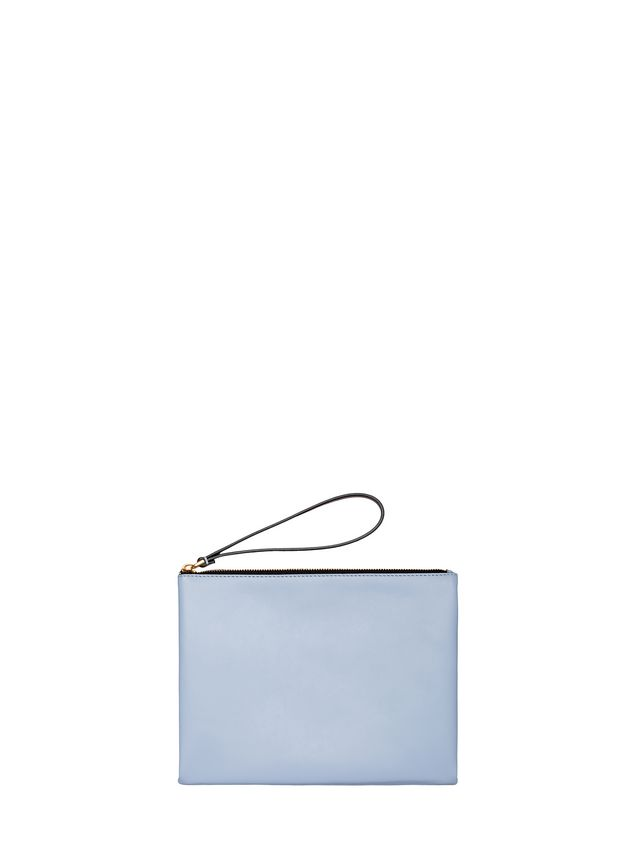 Marni Clutch in leather pale blue and brown Woman - 1