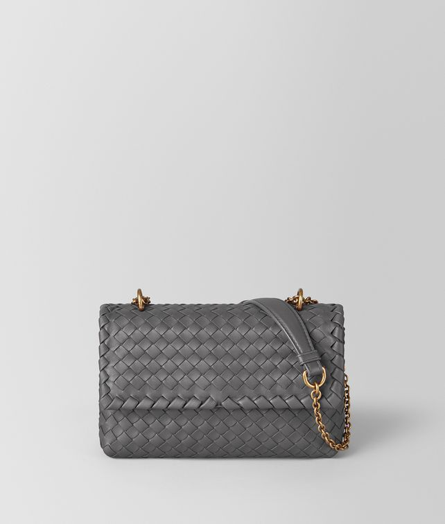 BOTTEGA VENETA BORSA BABY OLIMPIA IN INTRECCIATO NAPPA NEW LIGHT GREY  Shoulder Bag [*** pickupInStoreShipping_info ***] fp