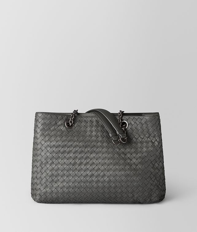 BOTTEGA VENETA MEDIUM TOTE BAG IN NEW LIGHT GREY INTRECCIATO NAPPA  Top Handle Bag Woman fp