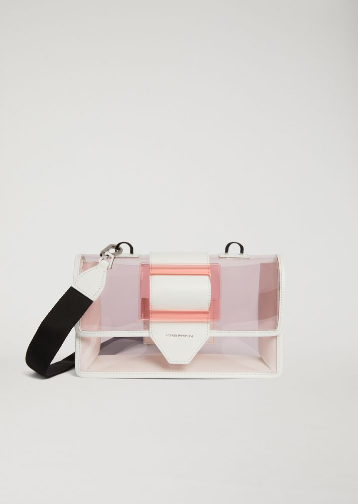 6363f6eda8d0 Crossbody bag in transparent PVC with smooth leather details
