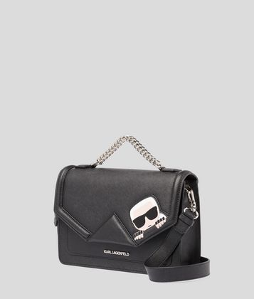 KARL LAGERFELD K/IKONIK LEATHER SHOULDER BAG