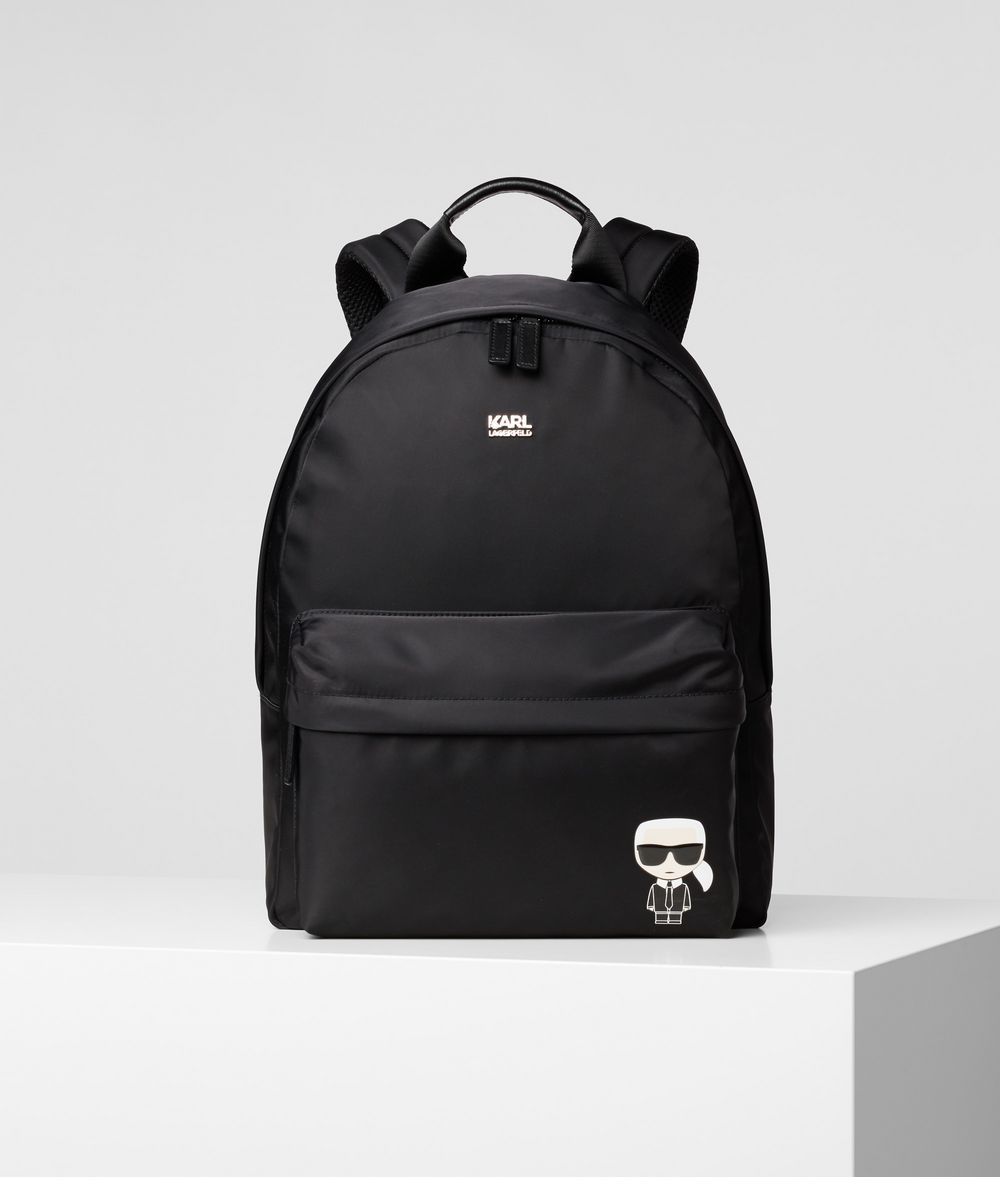 KARL LAGERFELD K/Ikonik Nylon and Leather Backpack Backpack E f