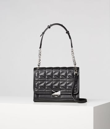 KARL LAGERFELD K/KUILTED STUDS SHOULDER BAG