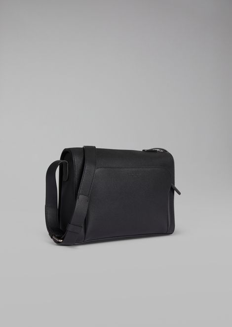 Grainy leather crossbody reporter bag