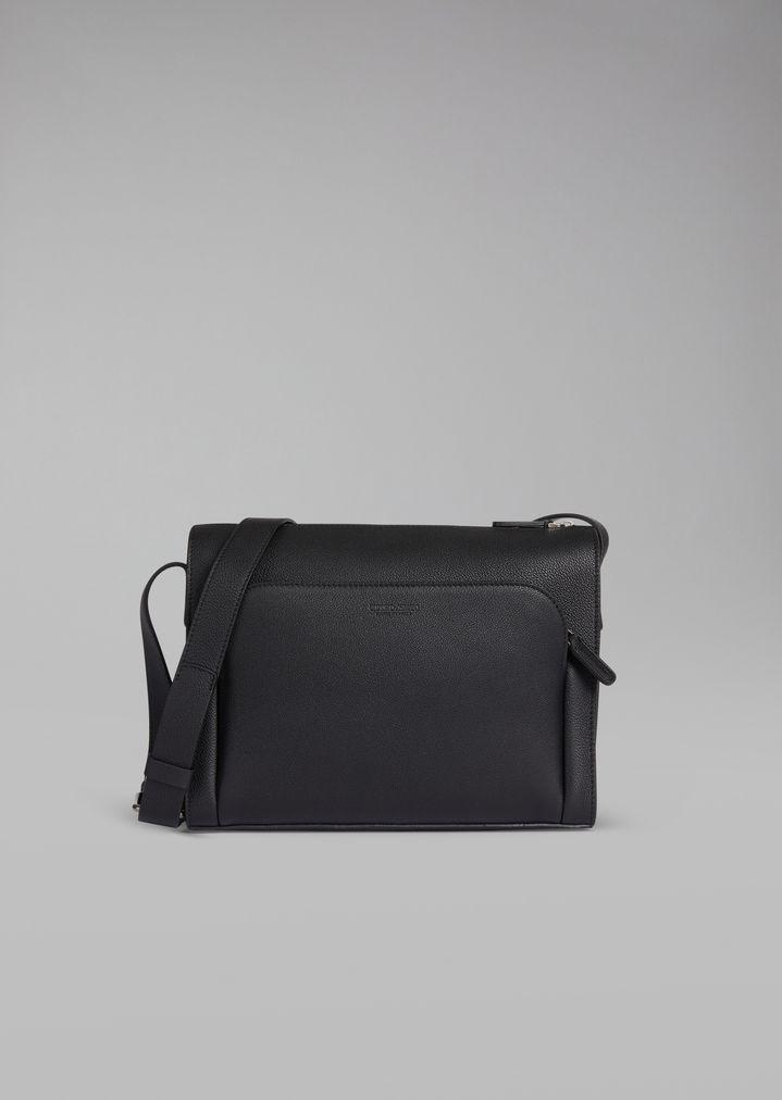 f1656121e8a5 Grainy leather crossbody reporter bag
