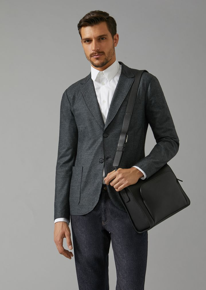 Grainy Leather Crossbody Reporter Bag Man Giorgio Armani
