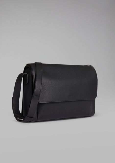 Grainy leather messenger bag
