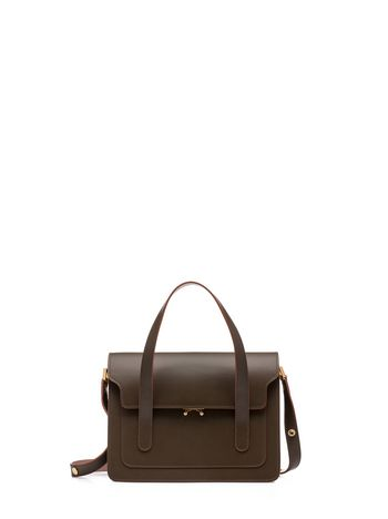 Marni TRUNK handbag with shoulder strap in two-color calfskin Woman