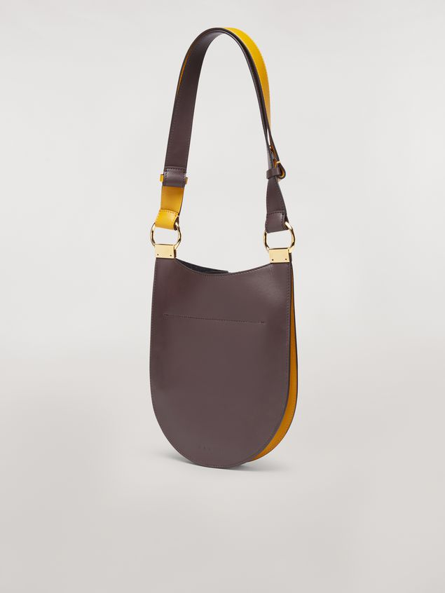 Marni EARRING bag in yellow and brown calfskin Woman