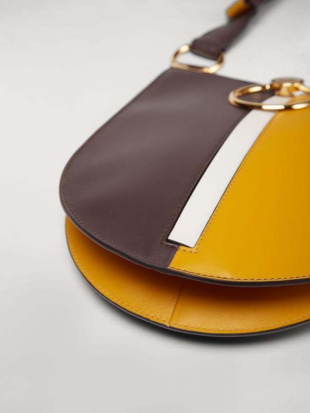 Marni EARRING bag in yellow and brown calfskin Woman - 5