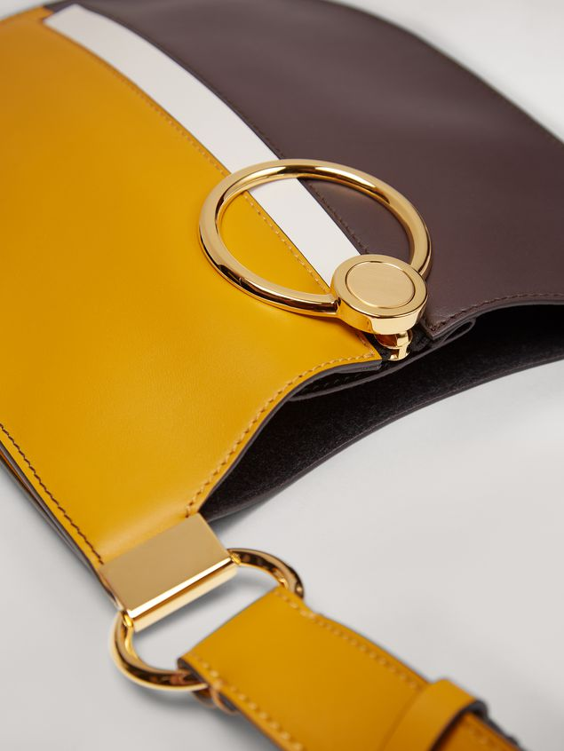 Marni EARRING bag in yellow and brown calfskin Woman - 4