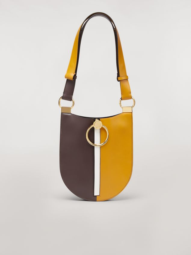 Marni EARRING bag in yellow and brown calfskin Woman - 1