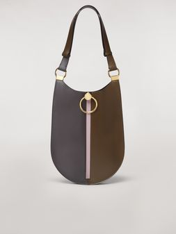 Marni EARRING bag in brown and pink calfskin Woman