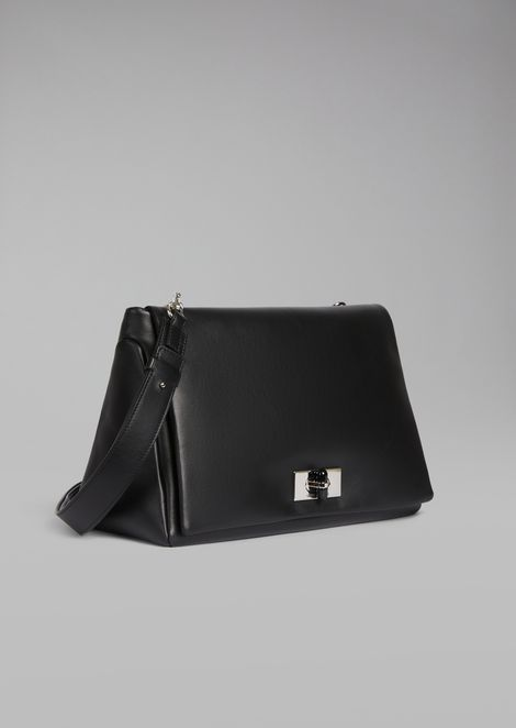 Two-tone nappa leather shoulder bag with plexiglass turn lock