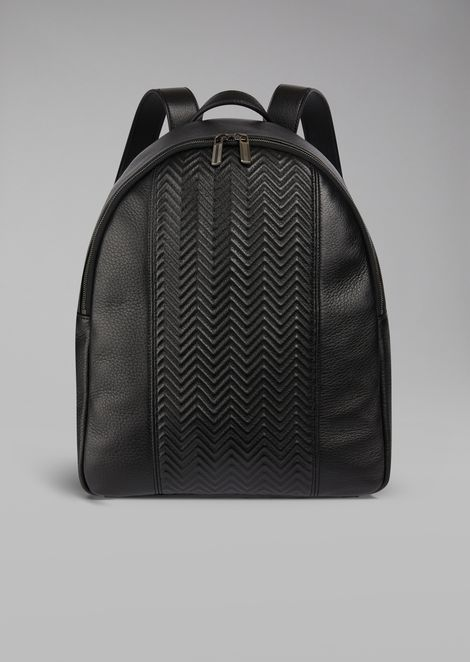Backpack in deerskin with chevron insert