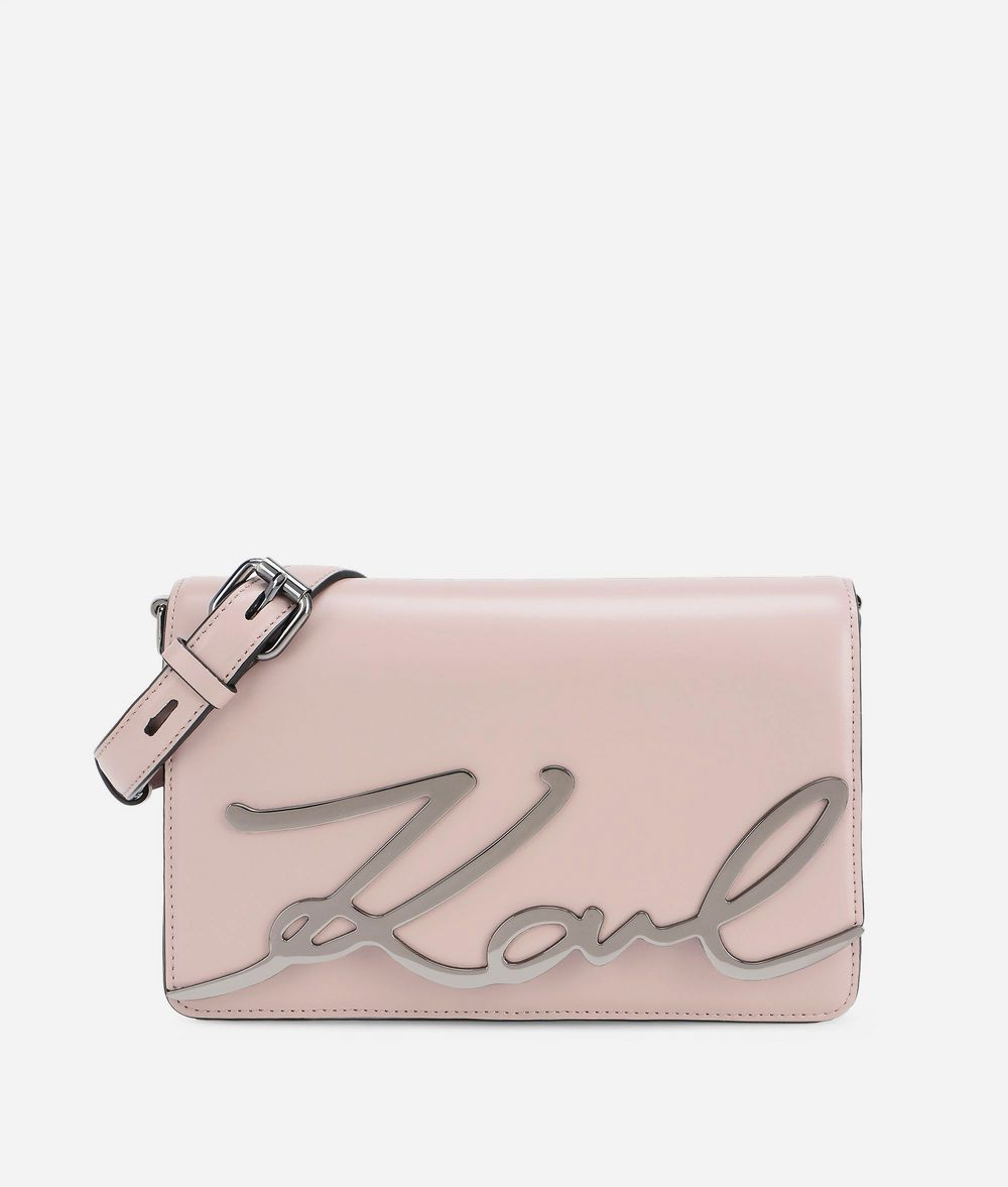 KARL LAGERFELD K/Signature Leather Shoulder Bag Handbag Woman f