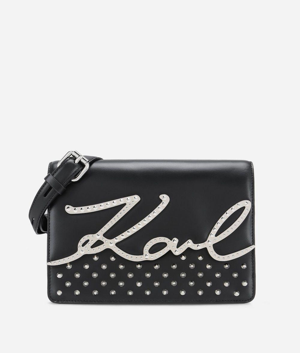 KARL LAGERFELD K/Signature Schultertasche aus Leder mit Nietendetails Handtasche Damen f
