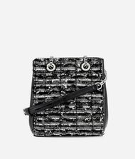 KARL LAGERFELD K/Kuilted Leather and Tweed Bucket Bag 9_f
